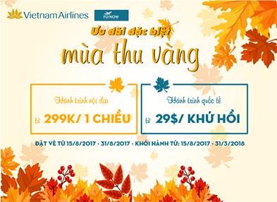 """Đón bão vé rẻ Vietnam Airline """"Mùa thu vàng"""" 2017 chỉ từ 299k"""